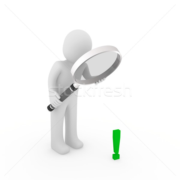 3d man human loupe exclamation mark  Stock photo © dariusl