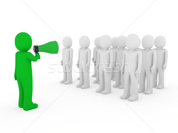 Foto d'archivio: 3D · uomini · uomo · megafono · squadra · verde