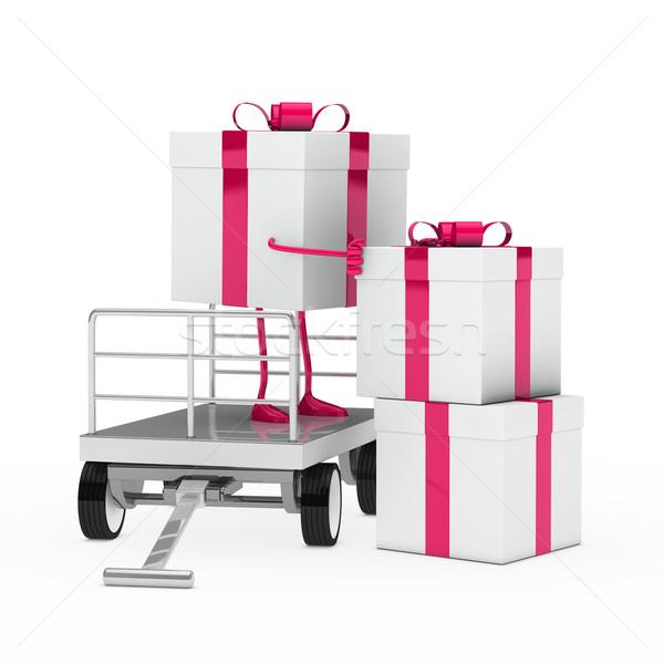 Stockfoto: Geschenkdoos · roze · witte · verjaardag · geschenk · christmas