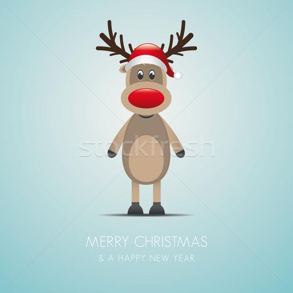 reindeer red nose and santa hat Stock photo © dariusl