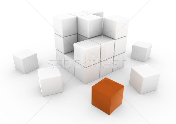 3D affaires cube orange blanche isolé Photo stock © dariusl