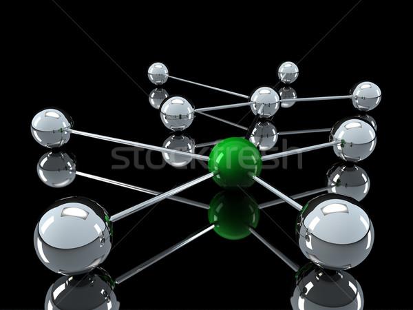 3D króm zöld hálózat labda kommunikáció Stock fotó © dariusl