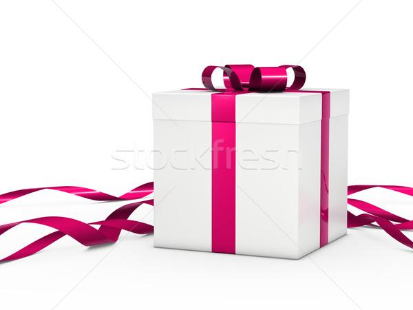 Ajándék doboz fehér rózsaszín szalag karácsony papír esküvő Stock fotó © dariusl