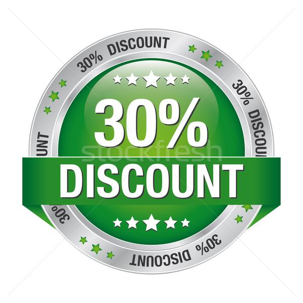 30 százalék árengedmény zöld ezüst gomb Stock fotó © dariusl