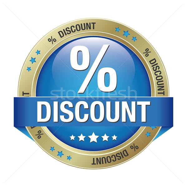 percent discount blue gold button Stock photo © dariusl