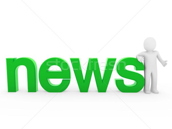 3d ember hírek olvas zöld izolált fehér Stock fotó © dariusl