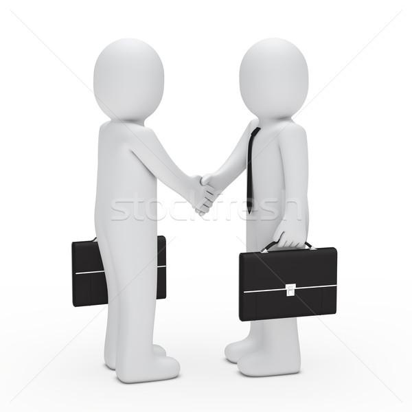 3D zakenman handdruk aktetas zwarte hand Stockfoto © dariusl