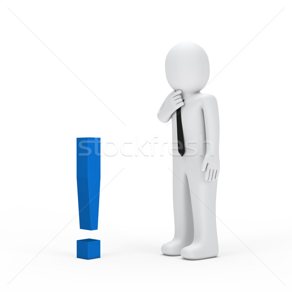 businessman small blue exclamation mark Stock photo © dariusl
