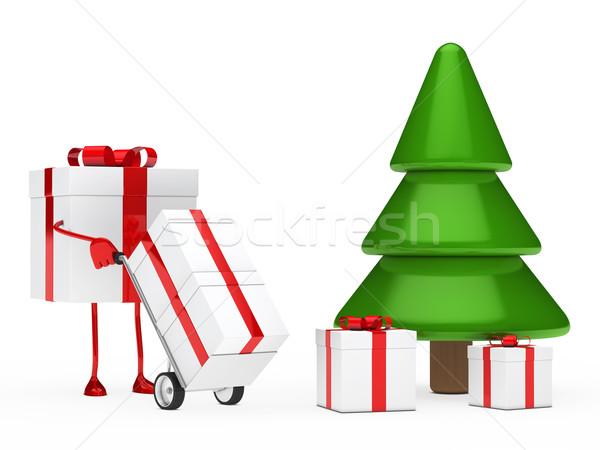 gift figure push hand truck Stock photo © dariusl