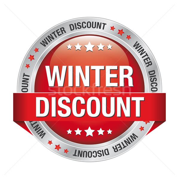 winter discount red silver button Stock photo © dariusl