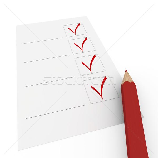 3d check pencil red Stock photo © dariusl