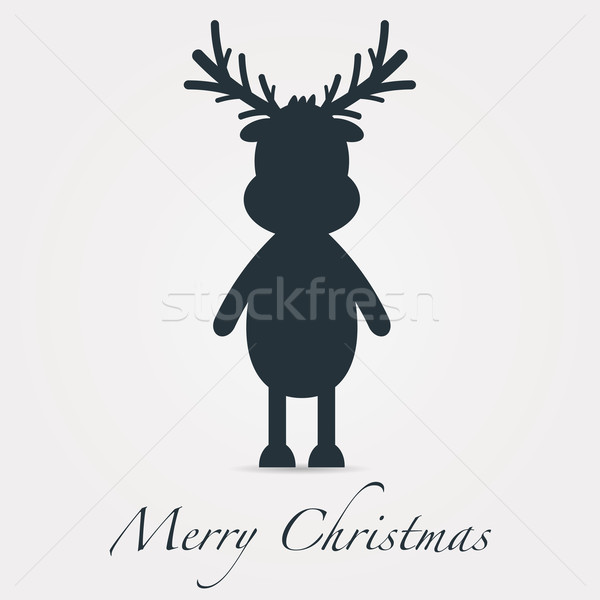reindeer silhouette black merry christmas text Stock photo © dariusl