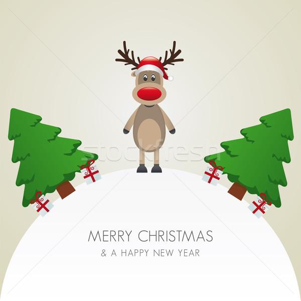 reindeer hat christmas tree gift world Stock photo © dariusl