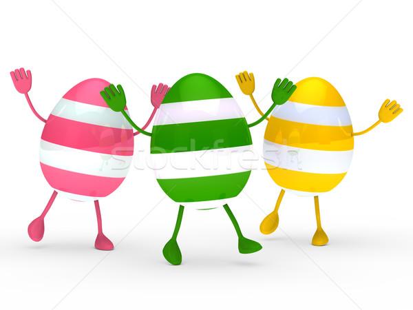 Colorful eggs go and wave Stock photo © dariusl