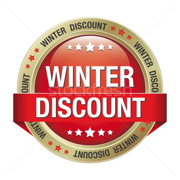 winter discount red gold button Stock photo © dariusl