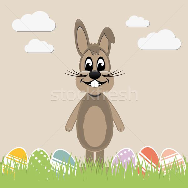 brown easter bunny colorful eggs Stock photo © dariusl