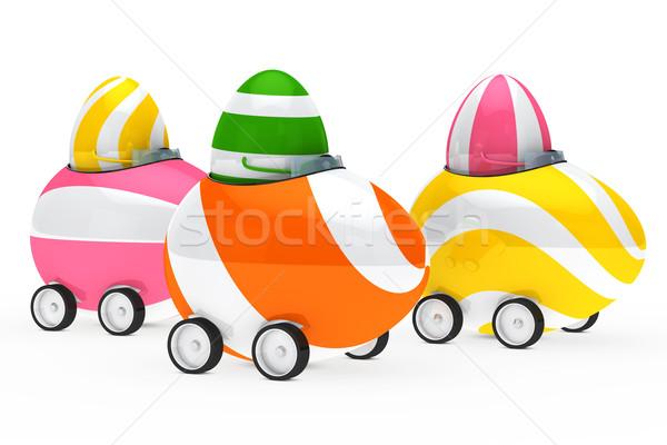 Ovos de páscoa descobrir colorido sentar-se carro páscoa Foto stock © dariusl