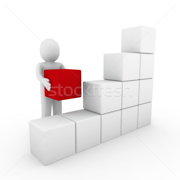 Stock photo: 3d human cube box red white