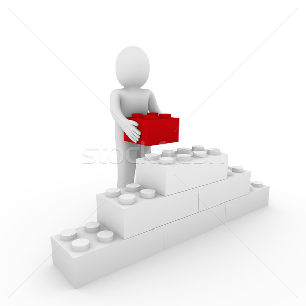 3d human red cube stone Stock photo © dariusl