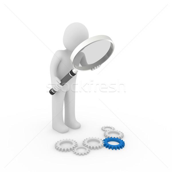 3D versnelling Blauw vergrootglas Zoek Stockfoto © dariusl