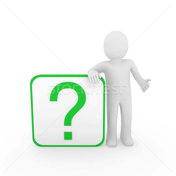 Hombre 3d signo de interrogación verde humanos cubo pensar Foto stock © dariusl