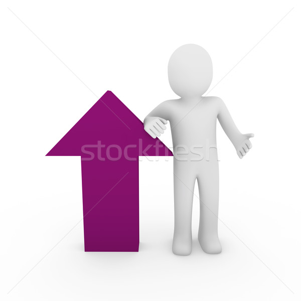 3d human arrow success pink purple  high business Stock photo © dariusl