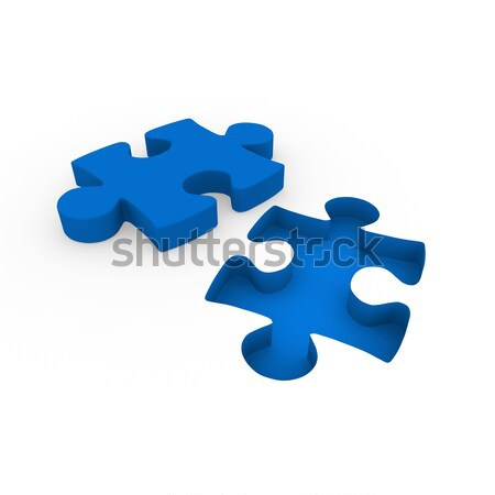 Stockfoto: 3D · puzzel · Blauw · witte · succes · verbinding