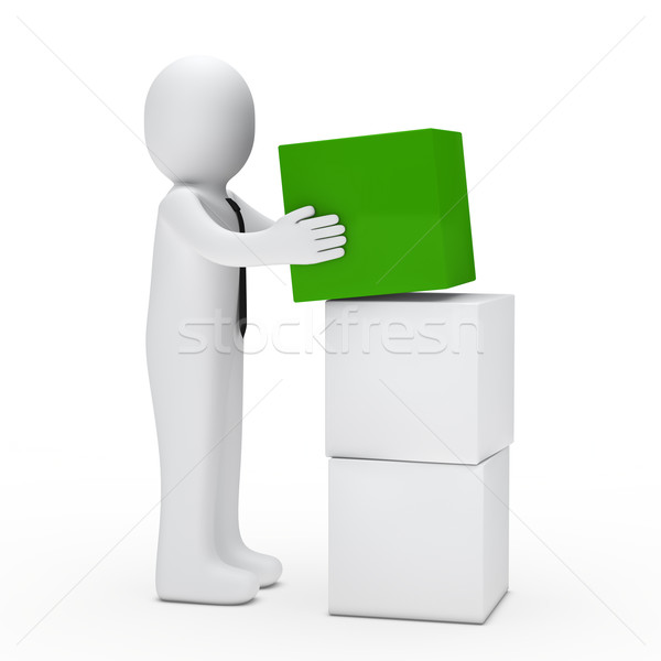 man hold green cube Stock photo © dariusl