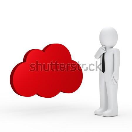 Biznesmen niebieski Chmura człowiek biznesu czarny tie Zdjęcia stock © dariusl