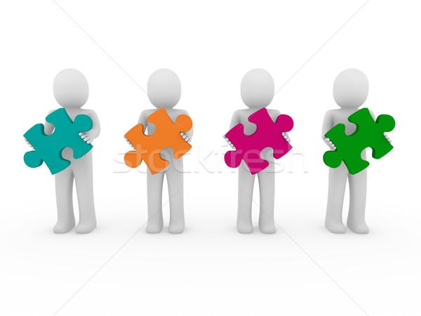 3D 男性 パズル チームワーク 緑 オレンジ ストックフォト © dariusl