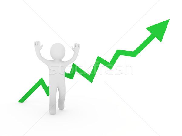 3d human man green graph  Stock photo © dariusl