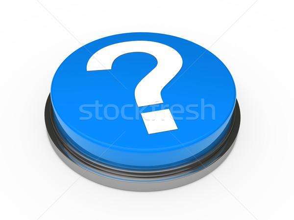 Foto stock: 3D · botão · azul · ponto · de · interrogação · assinar · negócio