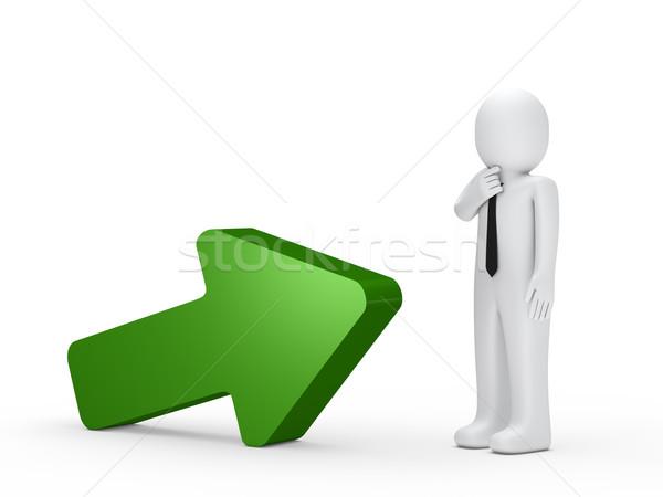 Stock foto: Geschäftsmann · grünen · arrow · stehen · nächsten · Mann