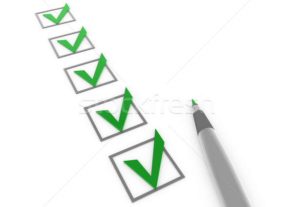 Stock photo: 3d green gray check box pen