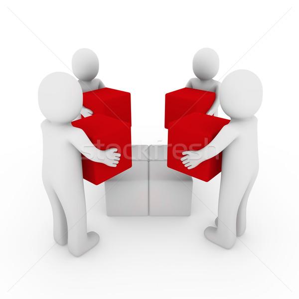 3d peoplecube box team red white  Stock photo © dariusl