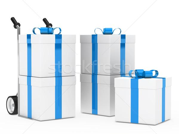 gift boxes hand truck Stock photo © dariusl