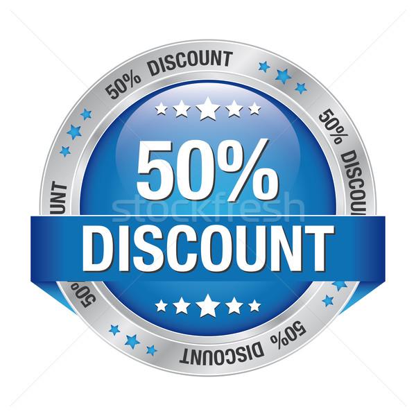 50 discount blue silver button Stock photo © dariusl