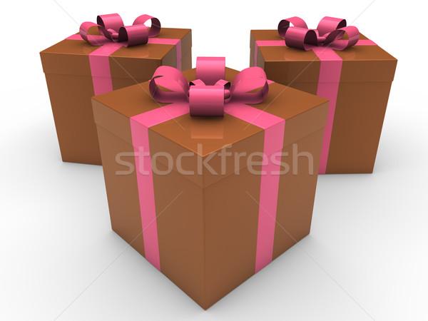 ストックフォト: 3D · ギフトボックス · お祝い · ブラウン · ピンク · クリスマス