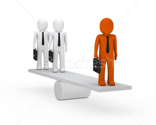 Uomini d'affari equilibrio altalena 3D valigetta arancione Foto d'archivio © dariusl
