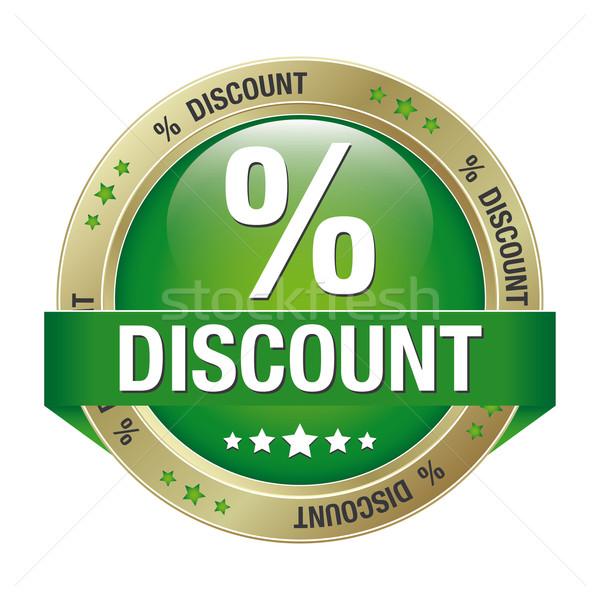 percent discount green gold button Stock photo © dariusl