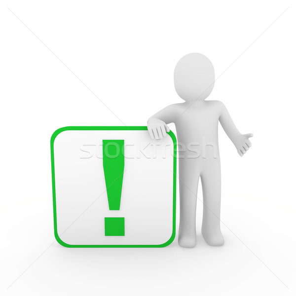 3d man menselijke groene uitroepteken kubus verrassing Stockfoto © dariusl