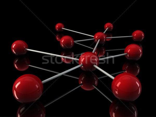 Stock photo: 3d chrome red network