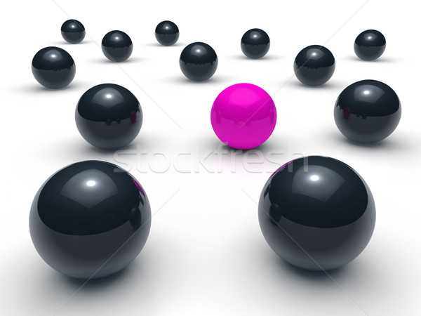 Ball 3d réseau pourpre noir sphère équipe Photo stock © dariusl