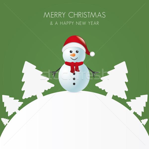 Kardan adam eşarp beyaz ağaç dünya kar Stok fotoğraf © dariusl