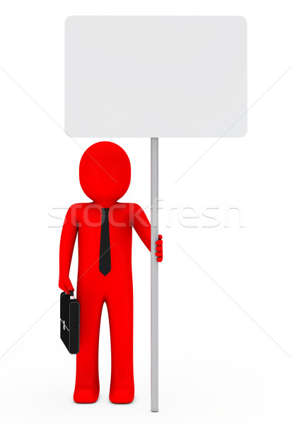 businessman hold signboard Stock photo © dariusl