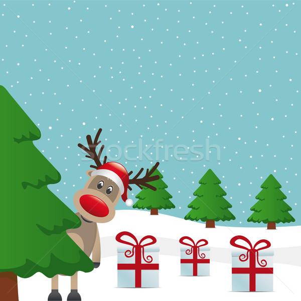 Stok fotoğraf: Ren · geyiği · kış · manzara · ağaç · hediye · kutuları · mutlu