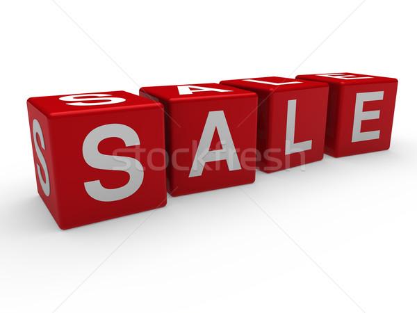 Zdjęcia stock: 3D · czerwony · sprzedaży · kostki · zniżka · detalicznej