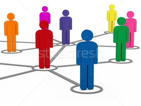 3D sociale comunicazione persone rete colorato Foto d'archivio © dariusl