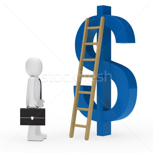 üzletember létra dollár kék aktatáska nyakkendő Stock fotó © dariusl