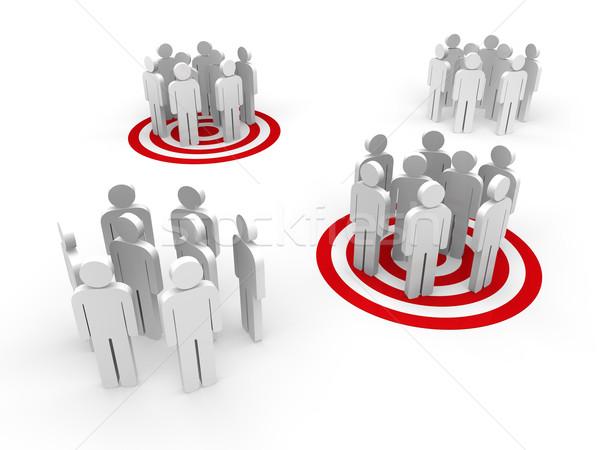 Emberek csoportkép csoport áll piros cél Stock fotó © dariusl